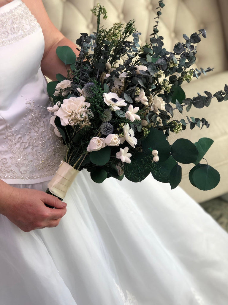 Adore You Anemone And Eucalyptus Bouquet Pineandpetalweddings