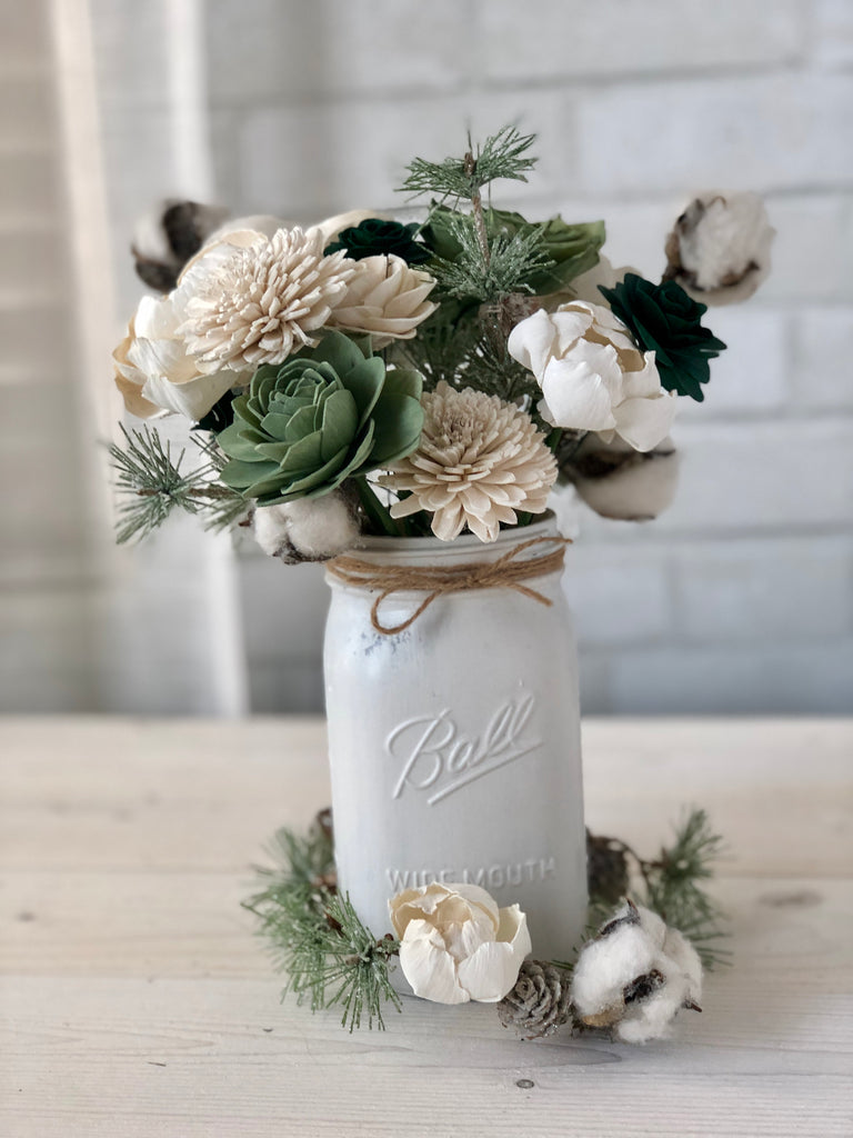 Snow Under the Pines Arrangement Fall & Winter Collection Pine and Petal Weddings