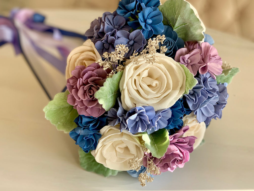 Forget Me Knot Hydrangea and Rose Bouquet Bouquets Pine and Petal Weddings
