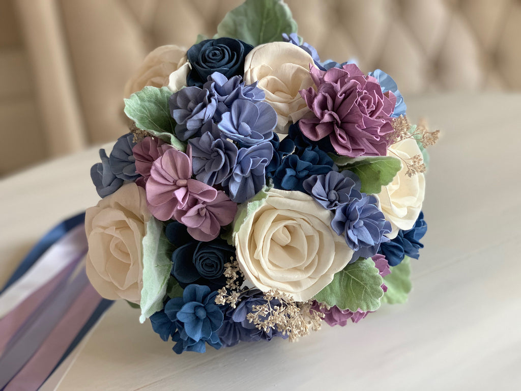 Forget Me Knot Hydrangea and Rose Bouquet - PineandPetalWeddings
