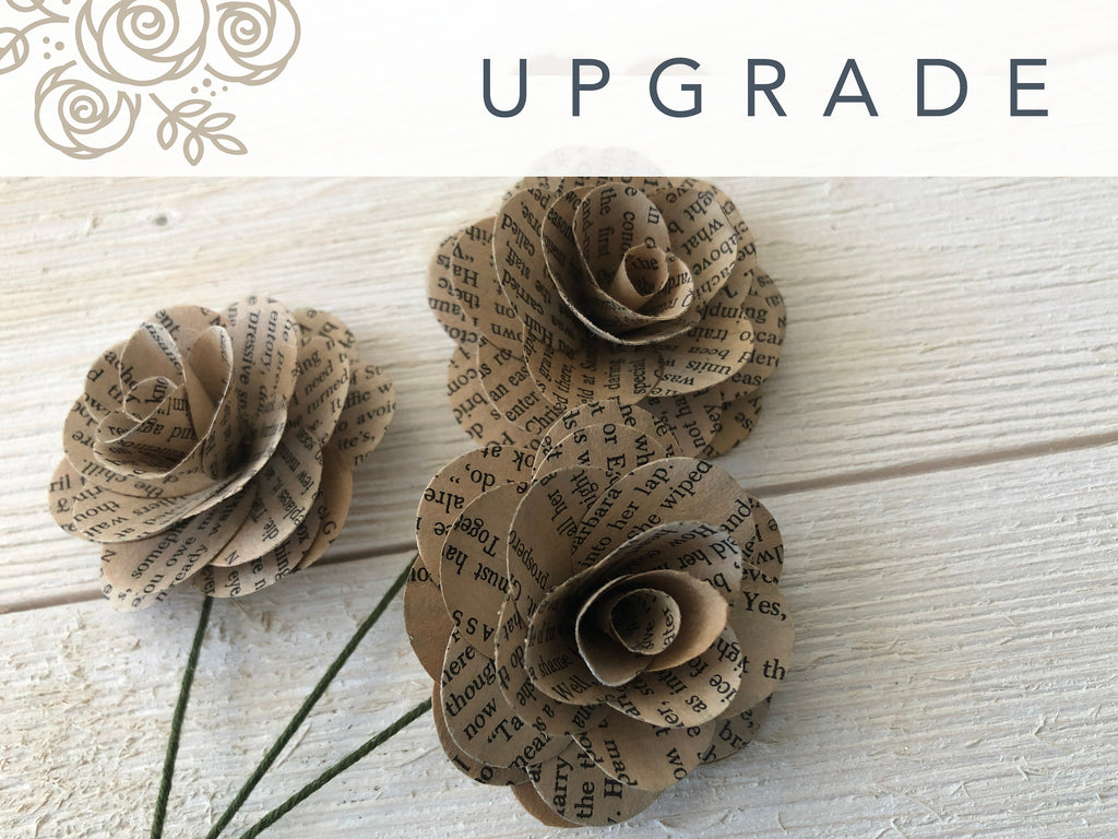 Book Page Flowers - UPGRADE Bouquet Upgrades Pine and Petal Weddings