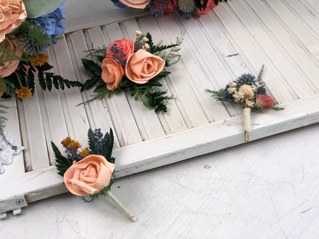 Peaches and Dream Foliage Boutonniere - PineandPetalWeddings