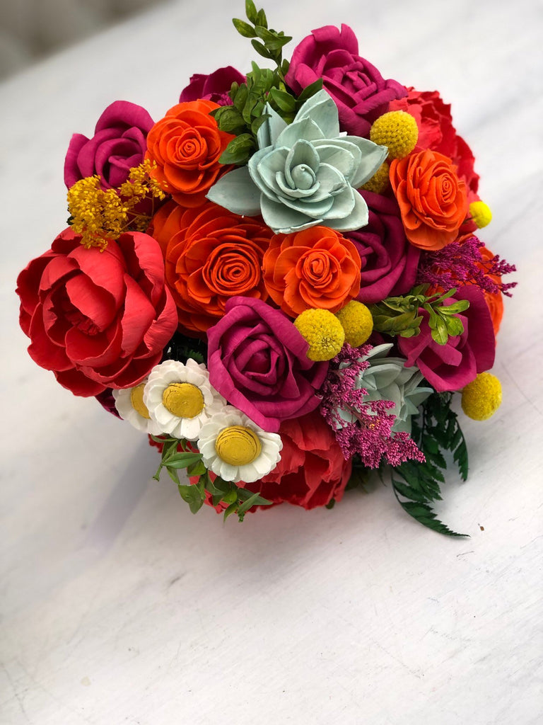 Fancy Plantsy Vibrant Wood Flower Bouquet Bouquets Pine and Petal Weddings