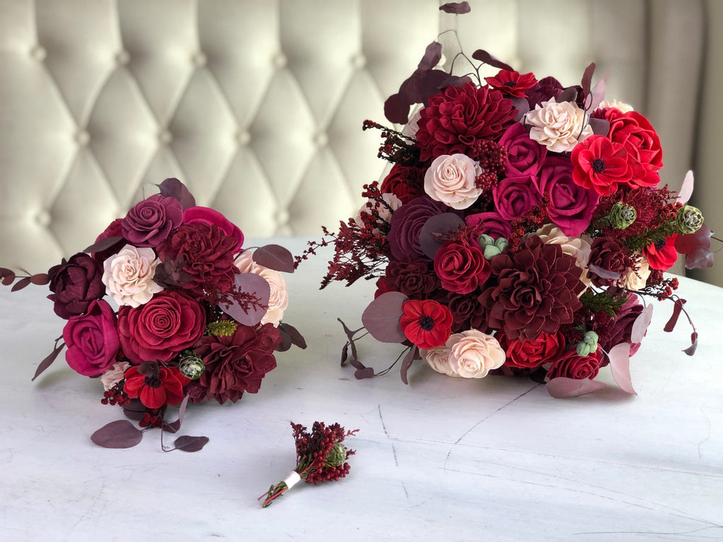 Roses and Rubies Bridal Bouquet Bouquets Pine and Petal Weddings