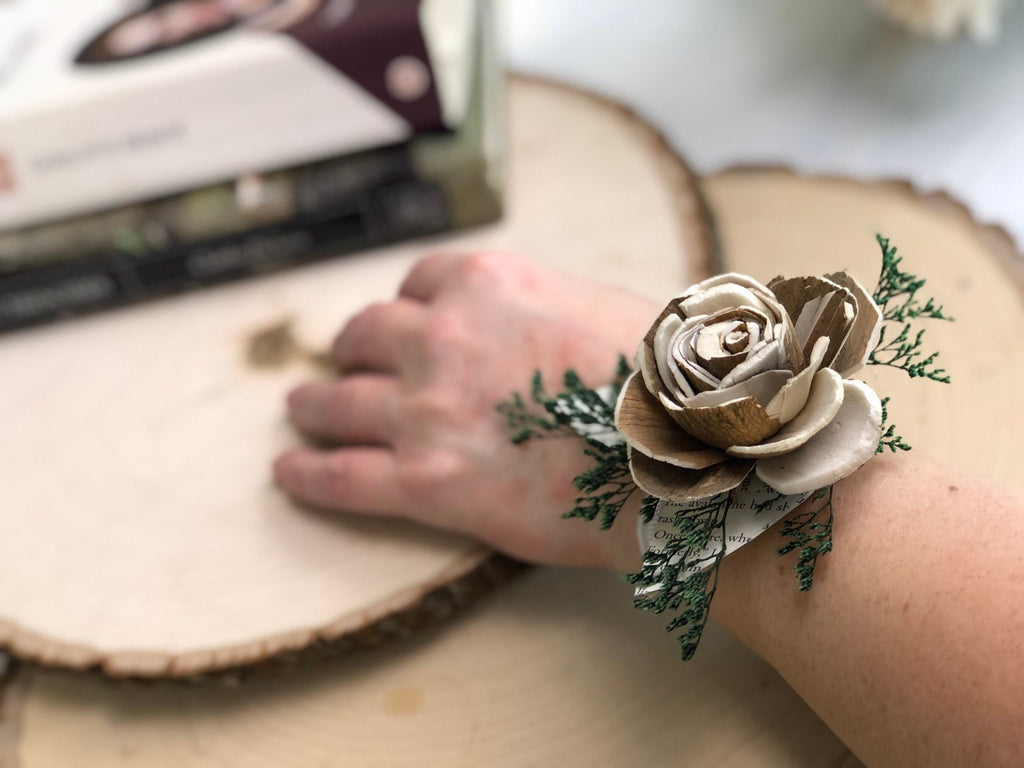Naturally Novel Wrist Corsage Boutonnières & Corsages Pine and Petal Weddings