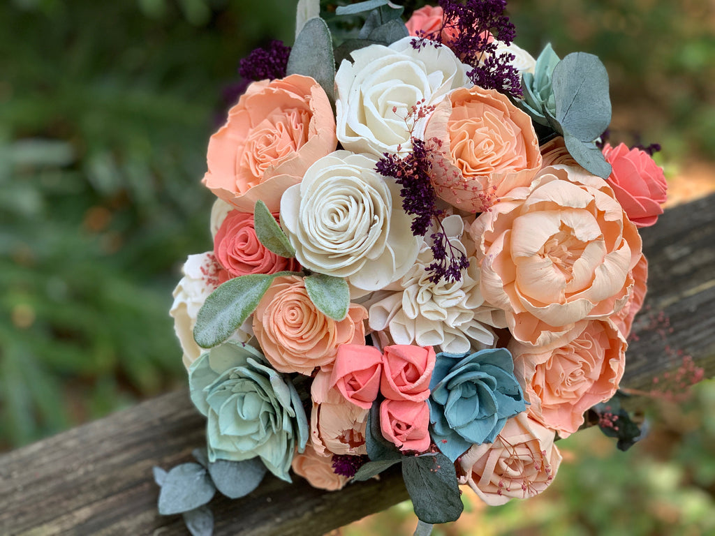 Coral, Peach, Mint, Plum Wedding Bouquet Bouquets Pine and Petal Weddings