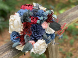 Burgundy, Navy and Blush Bouquet - PineandPetalWeddings