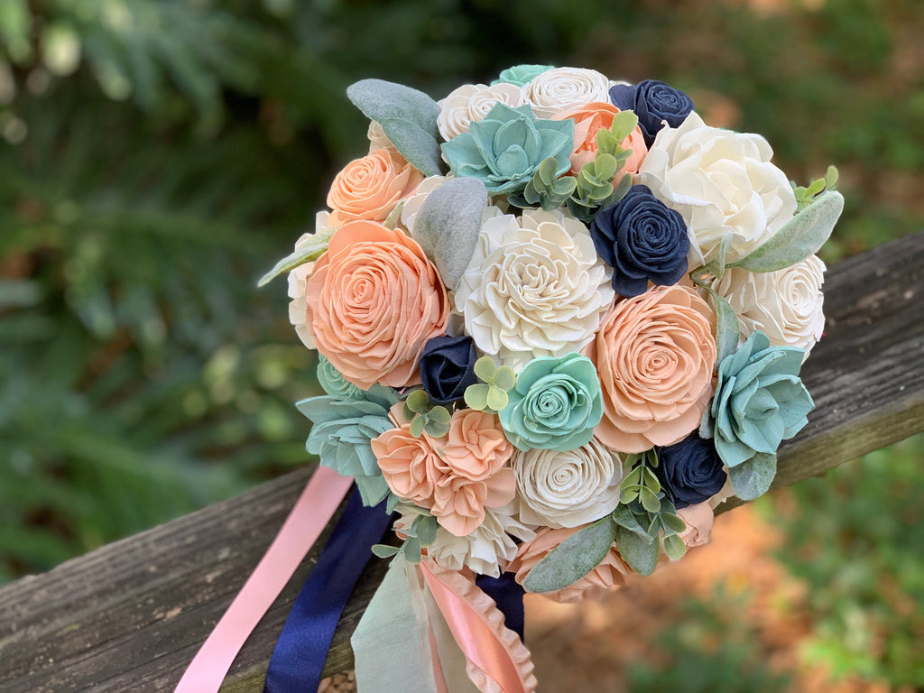 Peach, Navy and Mint Bouquet Bouquets Pine and Petal Weddings