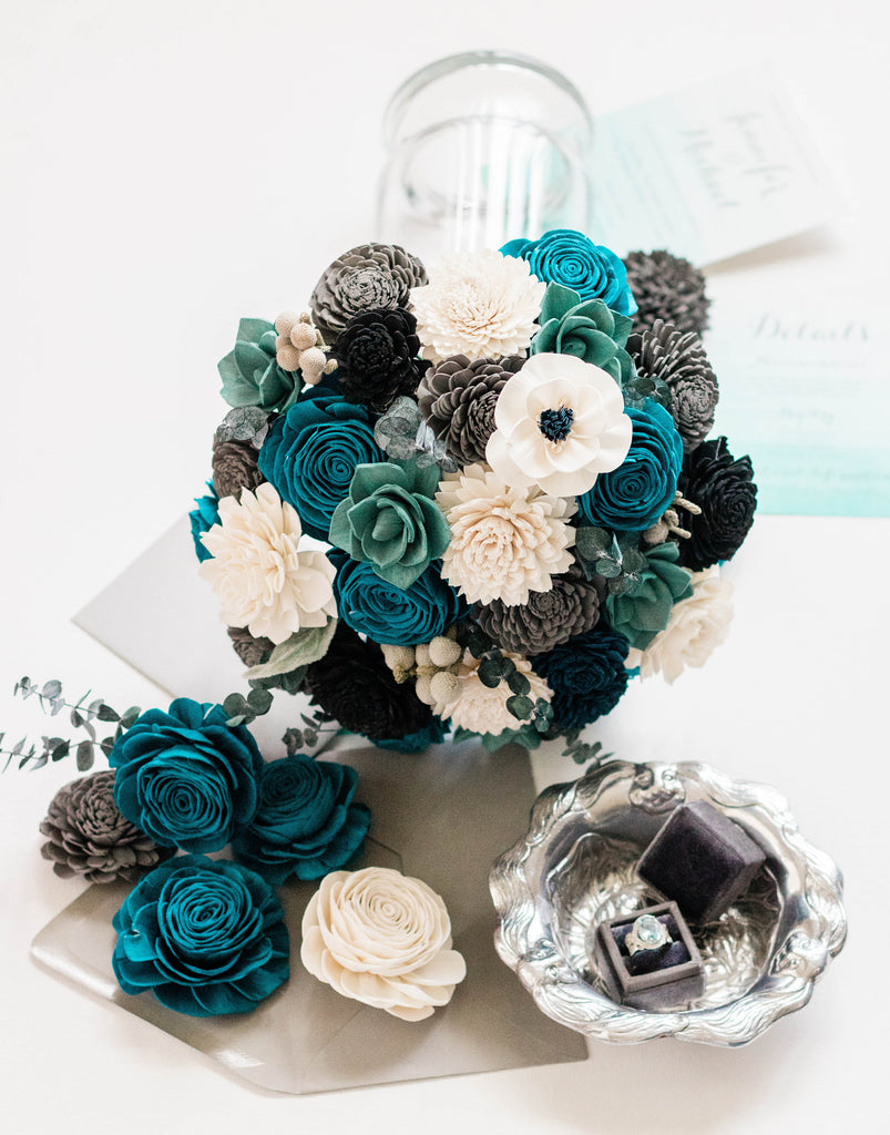Teal Grey And White Bouquet Pineandpetalweddings