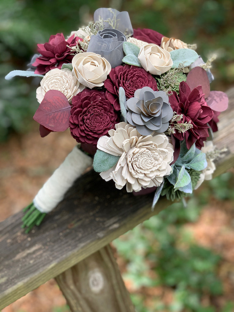 Wine, Steel Grey, Ivory with Lambs Ear Bouquets Pine and Petal Weddings
