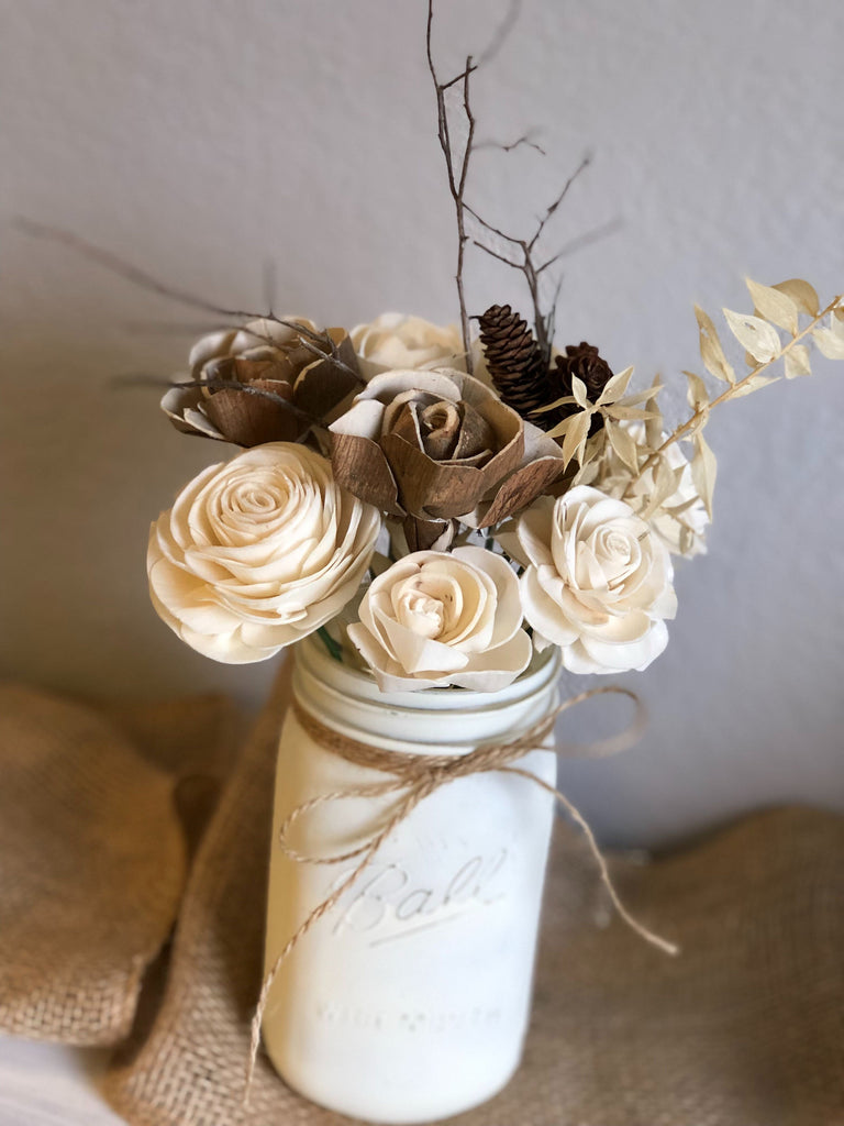 Winter Wooden Flower Arrangement Fall & Winter Collection Pine and Petal Weddings