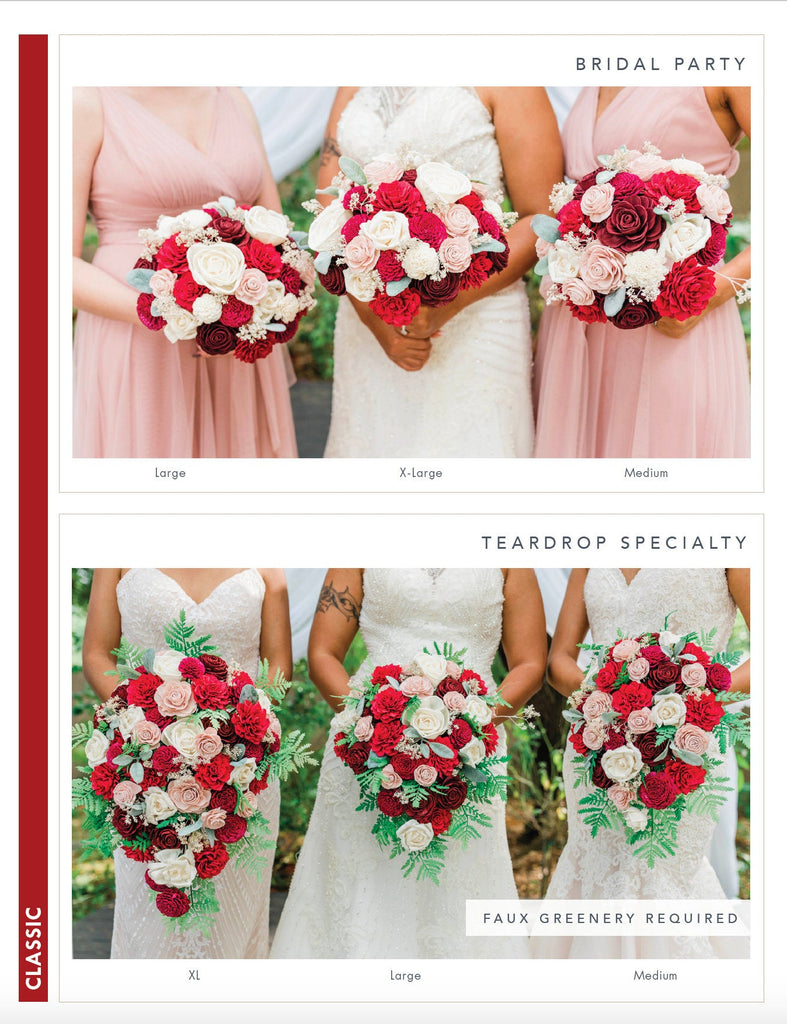 Classic Bridesmaid Sola Flower Bouquet Red & Blush Bouquets Pine and Petal Weddings
