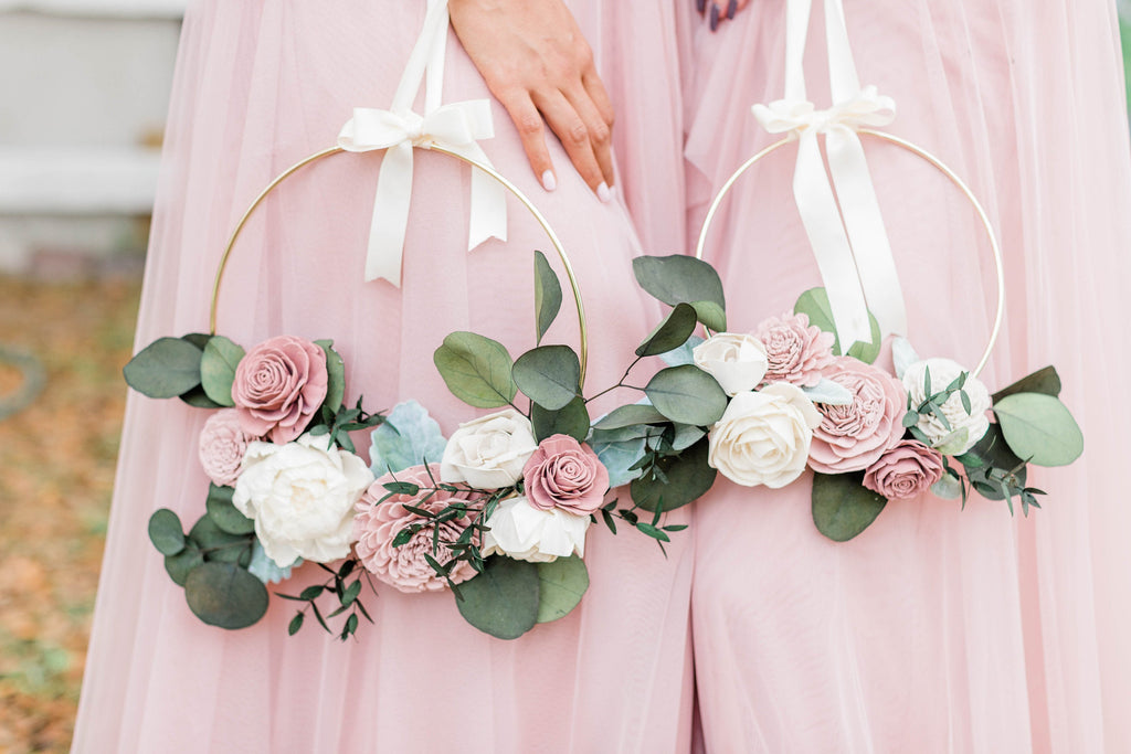 Blushing Rose Carrying Hoop Bouquets Pine and Petal Weddings