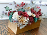 Silver Boughs and Blooms Christmas Table Arrangement Fall & Winter Collection Pine and Petal Weddings