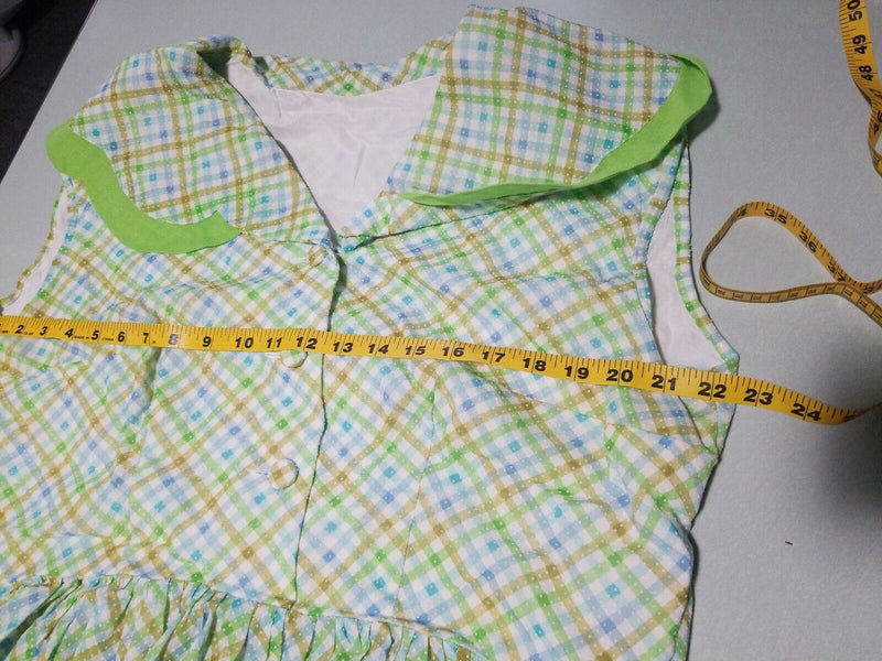 Copy of 1970s Vintage Green Plaid Checkered Pattern Striped Sleeveless Dress
