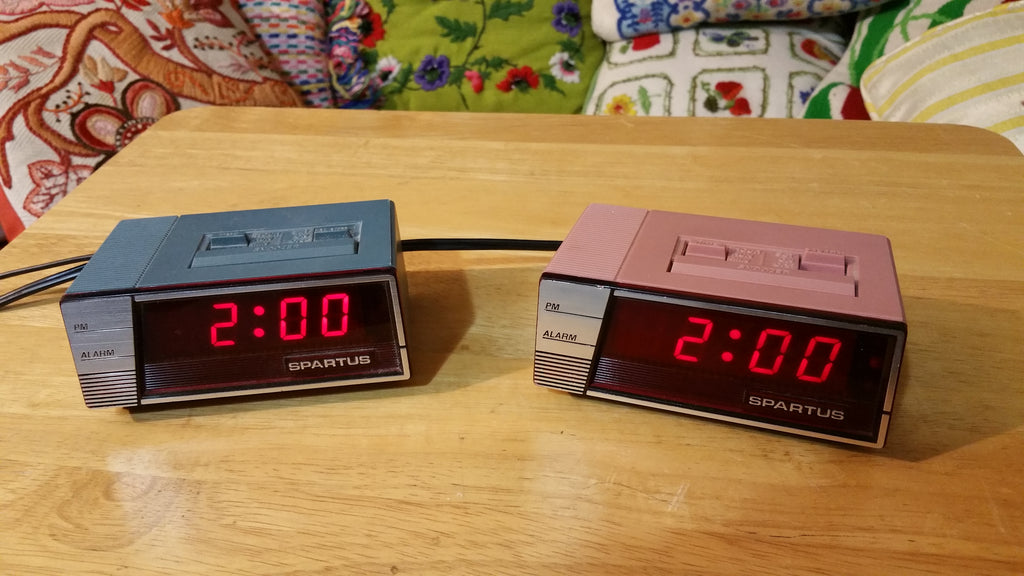 Vintage Spartus His and Hers Digital Alarm Clocks Pink & Blue 1970's or 1980's