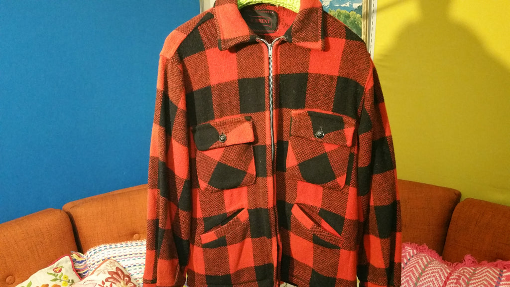 Red Checkered Brent Wool Hunting Jacket w/ Zipper Vintage 1970's