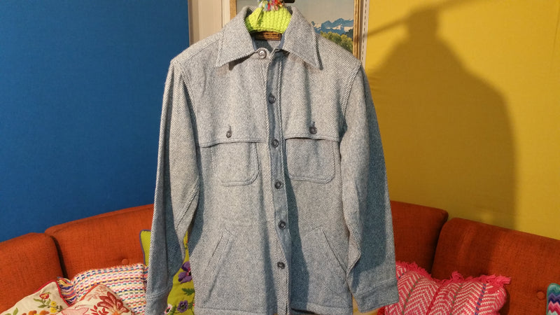 Vintage Eddie Bauer Button Up Mackinaw Cruiser Jacket w/ Pockets.  Made In USA