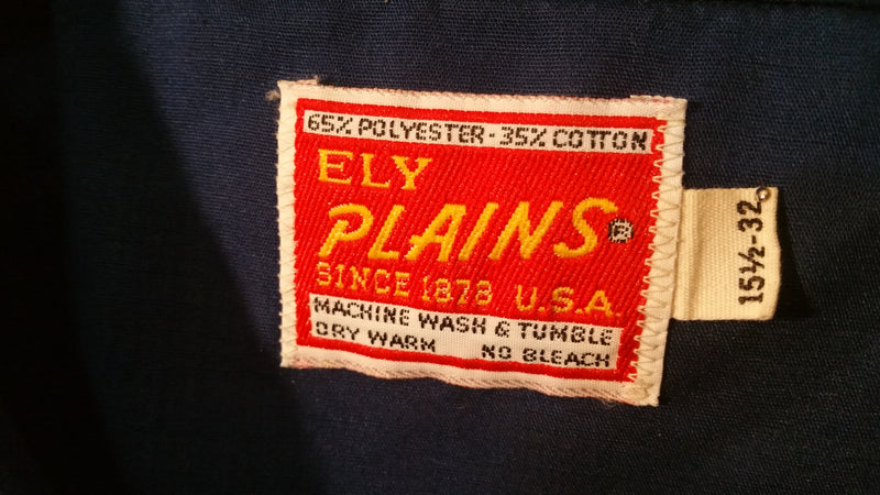 Vintage Ely Plains Pearl Snap Plaid Shoulder Western Cowboy Long Sleeve Shirt. Made In USA