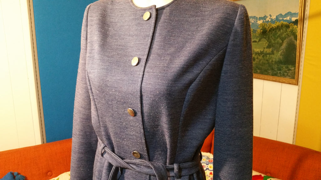 Vintage PLW Button Front Dress w/ Matching Fabric Belt 1970's