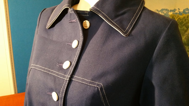 Vintage Outer Banks by Jerold Navy Blue Trench Coat 1960's Mod Rain Coat