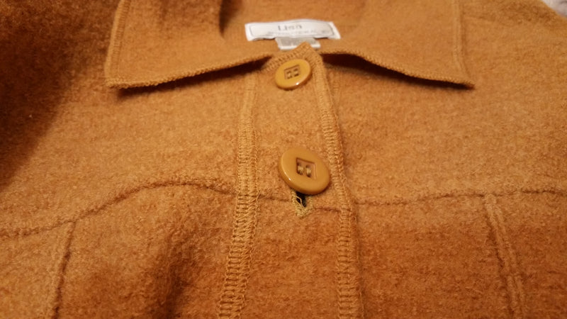 Lisa International Boiled Wool Button Up Jacket.
