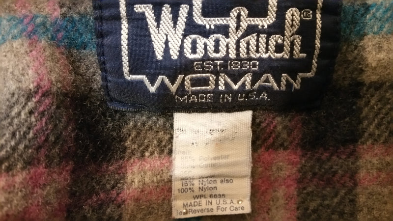 The Woolrich Woman Vintage Wool Lined Hooded Coat Made In USA