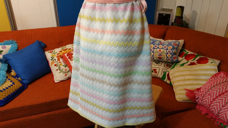 Berkshire 60's 70's Vintage Button Dress w/ Matching Belt.  Flower power. Pastel Striped.