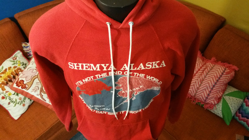 Shemya Alaska End of The World Red Hoodie Sweatshirt Made In USA 1980's