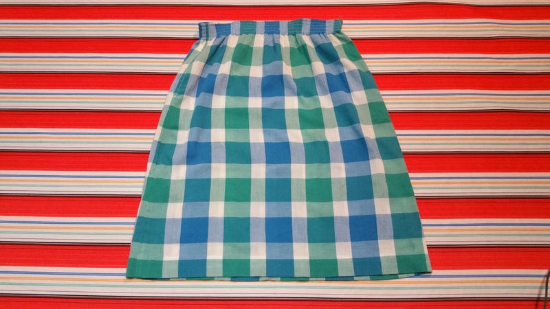 Tan F Jay Vintage Plaid Skirt. Great Colors. Vibrant 1980's w/ Pockets