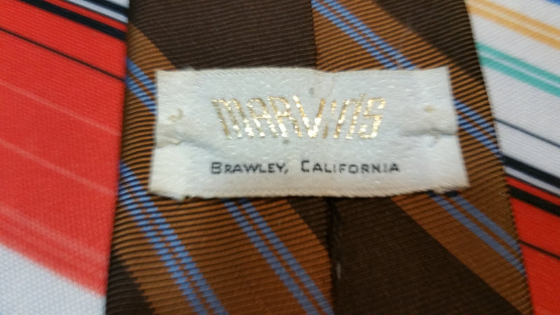 Vintage 70's Brown Striped Neck Tie by Marvins of Brawley California