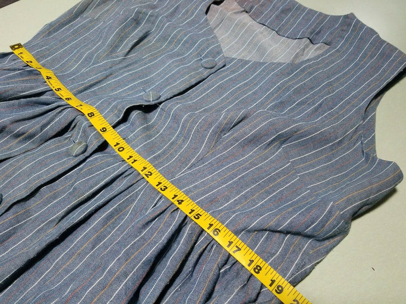 1970s Vintage Blue Pin Striped Sleeveless Dress w Belt