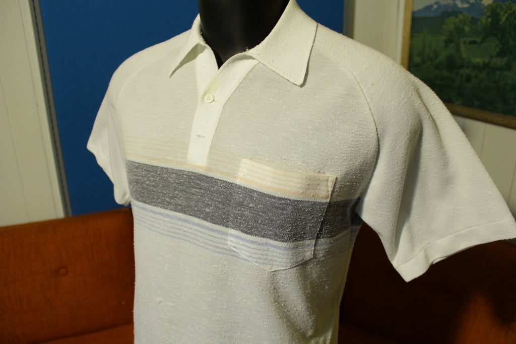 Palmland Vintage 70's Polyester Striped Short Sleeve Golf Disco Polo Shirt