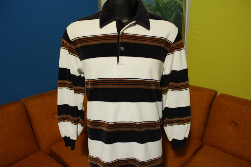 JC Penney Velour 70's Vintage Long Sleeve Striped Disco Polo Shirt