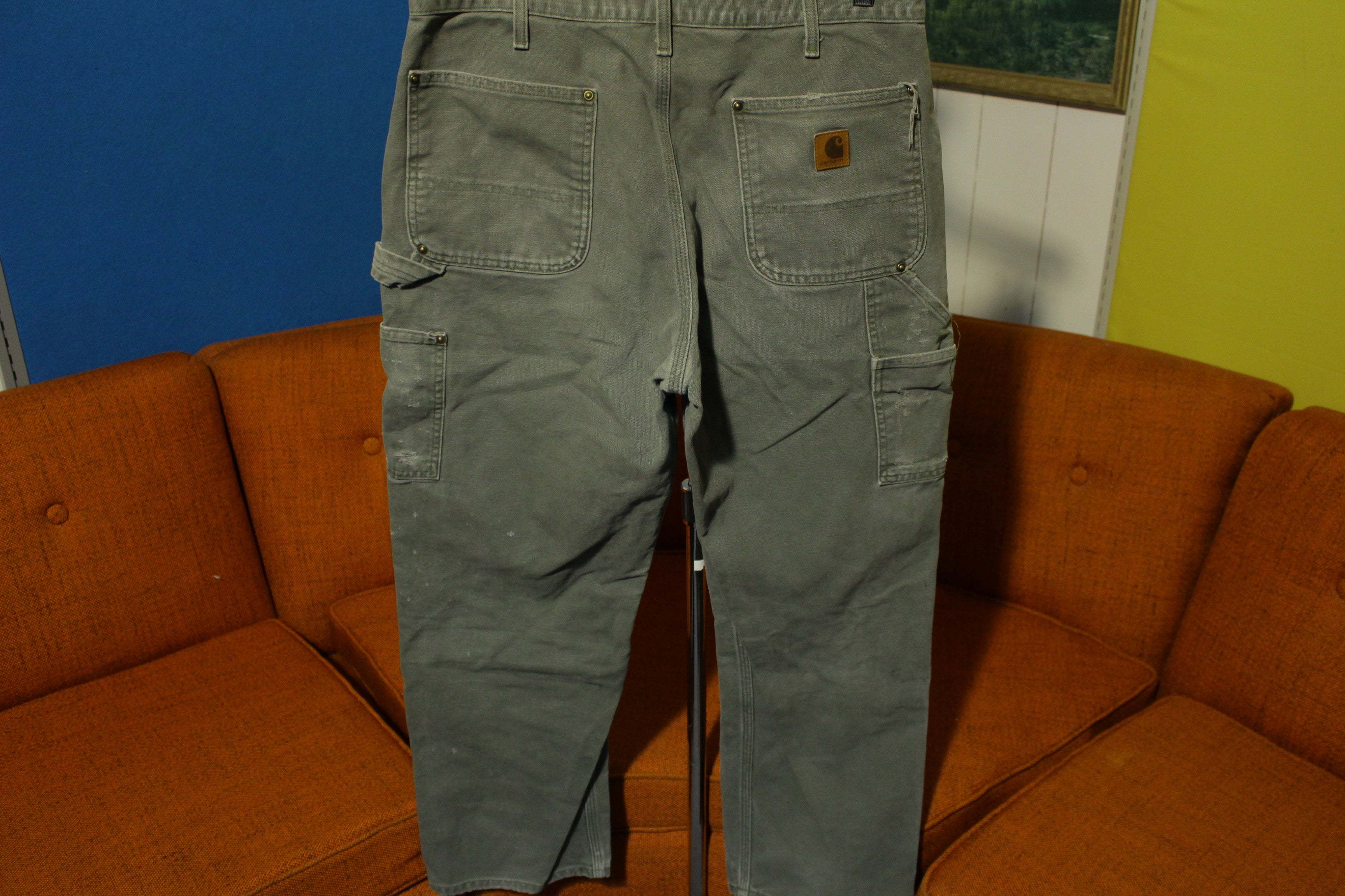 Carhartt B136 MOS 33x30 Washed Duck Work Pants Distressed! Canvas Double Front