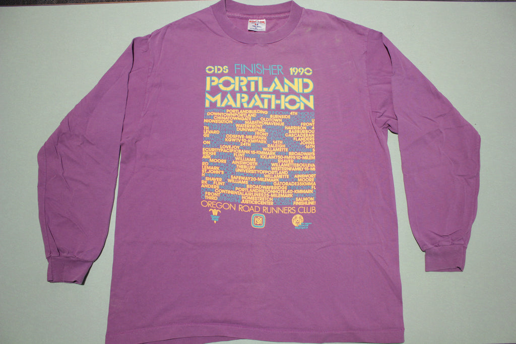 Portland Marathon ODS Finisher 1990 Burnside Oregon Roadrunners Vintage T-Shirt
