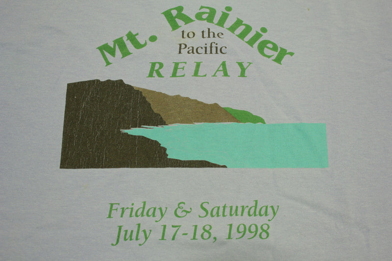 Mt. Rainier to the Pacific Relay July 17 18 1998 Vintage 90s Running T-Shirt