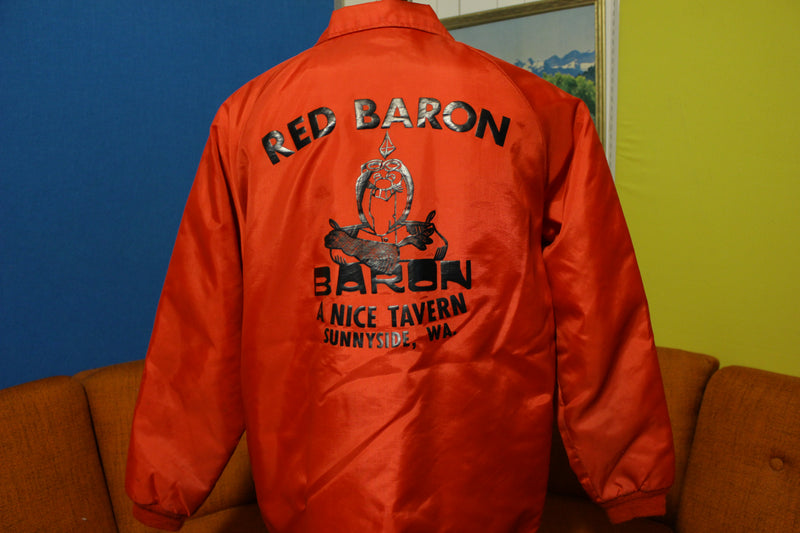 Norm Cheers 80s Coach Fleece Lined Red Satin Jacket Red Baron Tavern Sunnyside WA