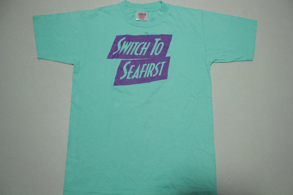 Switch to Seafirst Seattle Vintage Oneita Power T Single Stitch Made in USA Bank T-Shirt