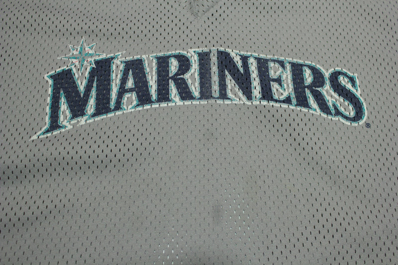 Seattle Mariners Vintage 90s Gray Mesh V-Neck Majestic Made in USA Baseball Jersey