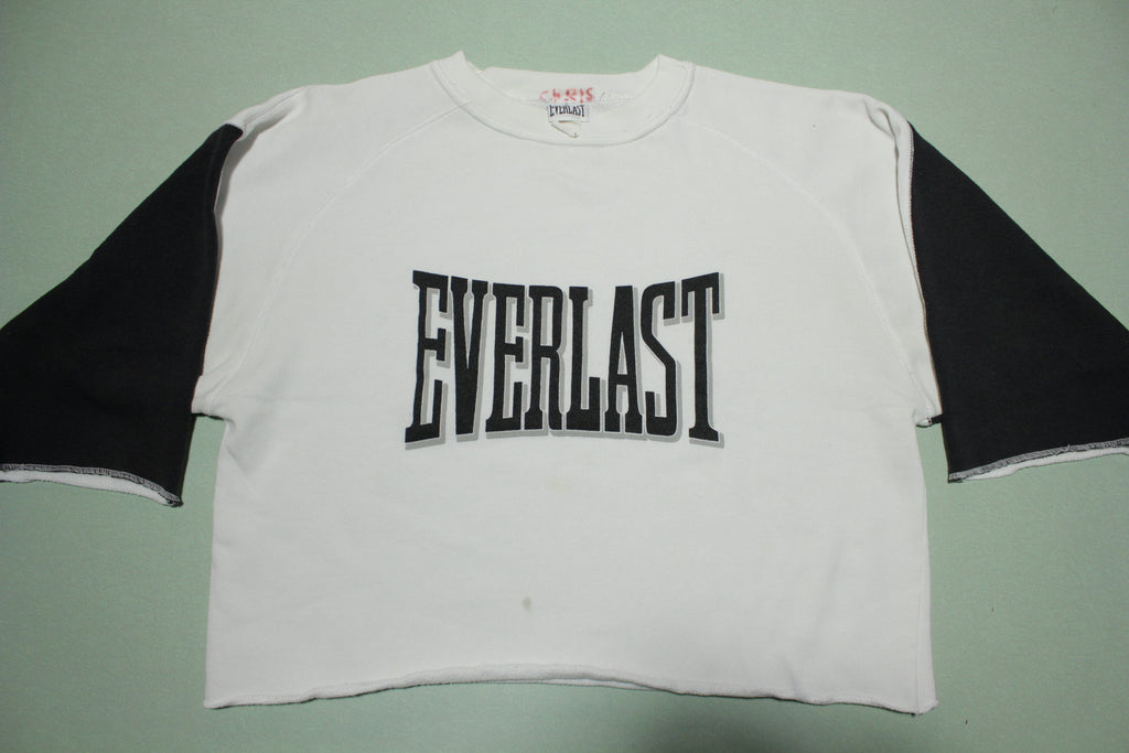 Everlast Boxing Made in USA Vintage 80s Cropped Color Block Crewneck Sweatshirt
