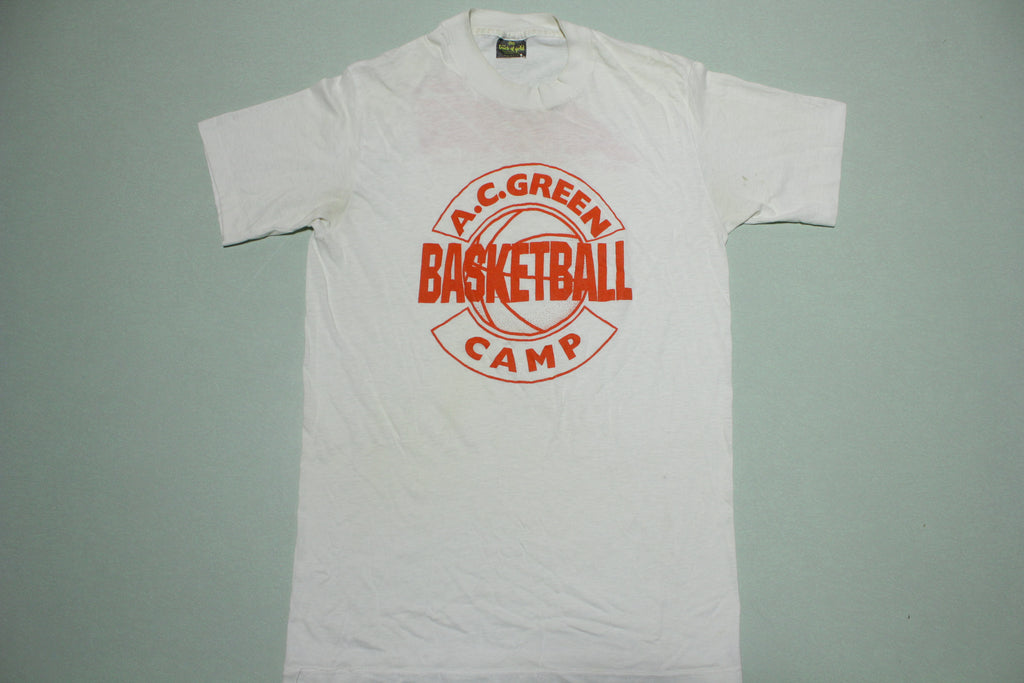 AC Green Basketball Camp Avia Vintage Single Stitch Touch Of Gold USA Made T-Shirt