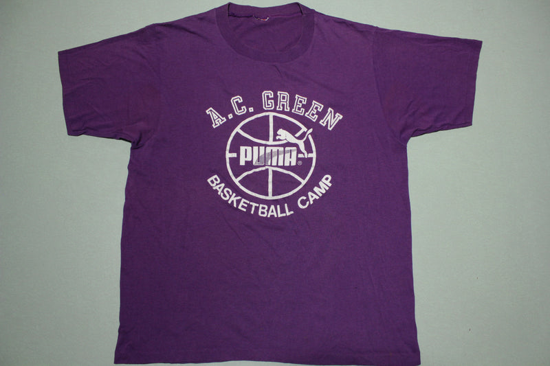AC Green Basketball Camp Puma Vintage Single Stitch 80's L.A. Lakers T-Shirt