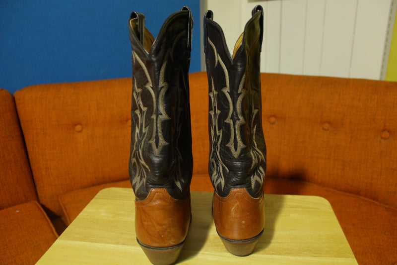 Tony Lama Vtg Western Leather Cowboy Boots Lizard Cap Toe 6951 Men Size 8D Dancing