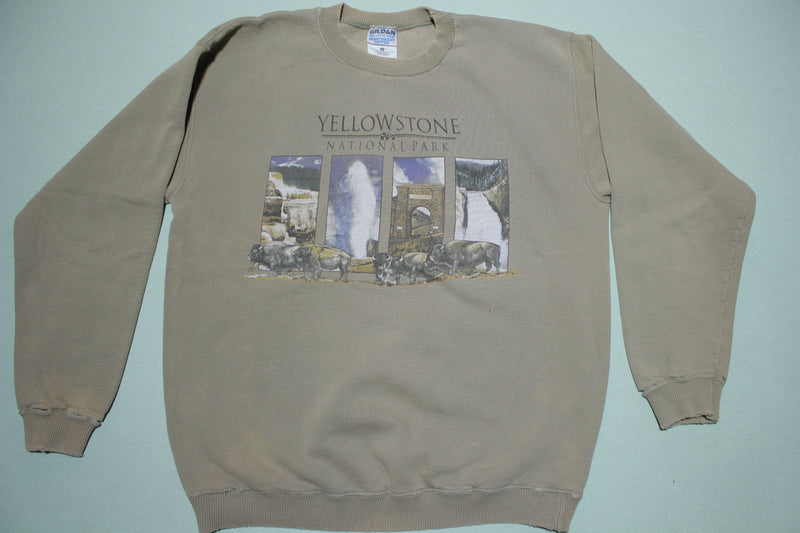 Yellowstone National Park Bison Geyser Waterfall Vintage 90's Crewneck Sweatshirt