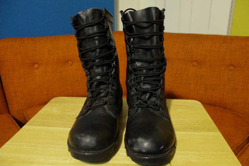 Vintage Black Leather Combat Boots 1985 Mens 10.5R Military PJ 5-85 RO-Search