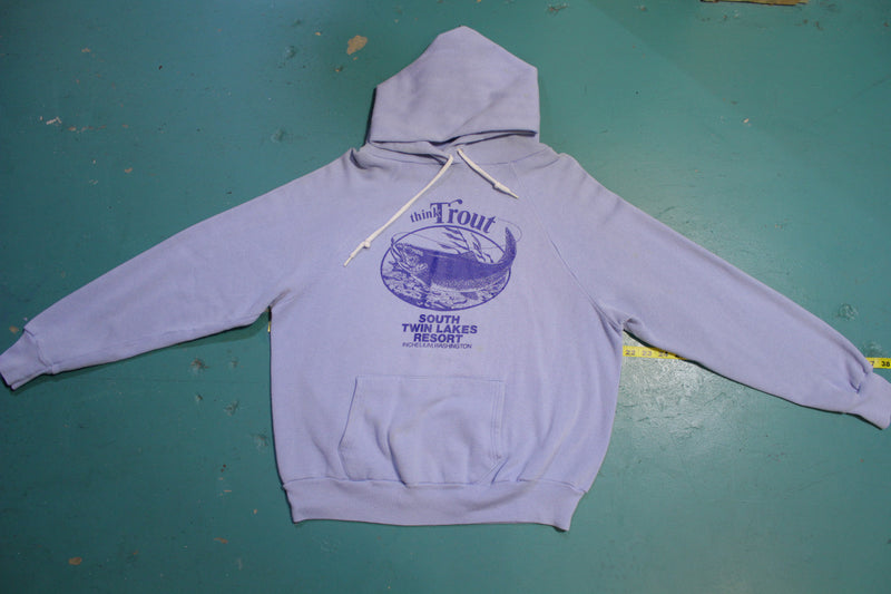 Think Trout Vintage South Twin Lakes Resort Hoodie 80's Sweatshirt