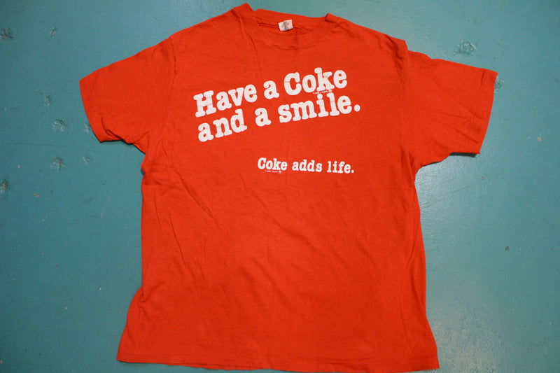 Have A Coke And A Smile 80s Hanes Coke Adds Life Coca Cola Single Stitch T-Shirt