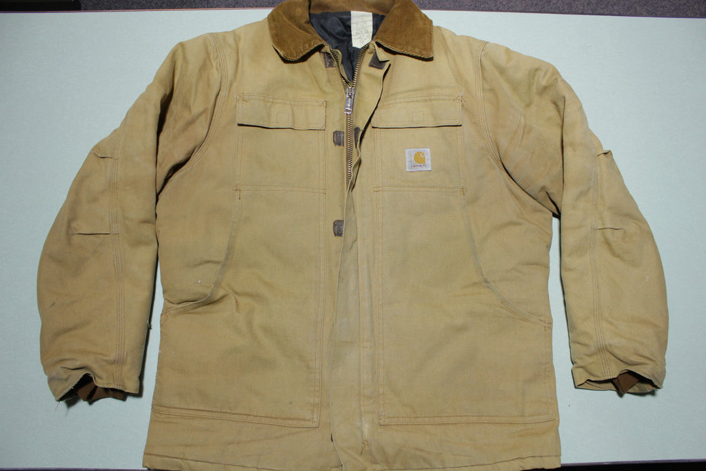 Carhartt CQ186 BRN Arctic Quilt Lined Chore Duck Canvas Jacket Vintage Workwear Coat