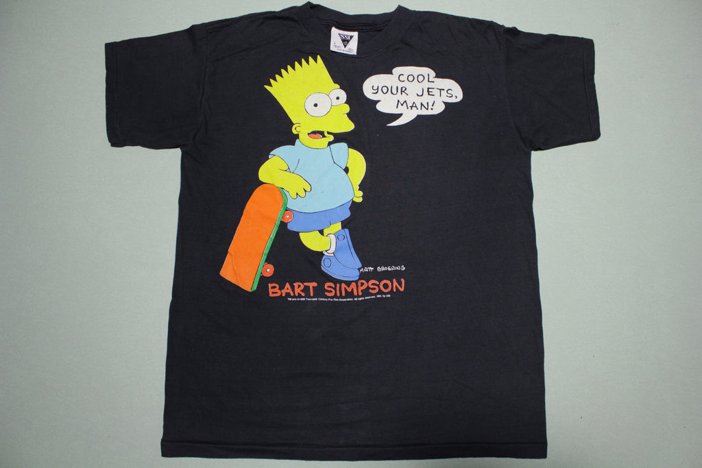 Bart Simpson Cool Your Jets Vintage 1990 Single Stitch SSI Movie Promo T-Shirt
